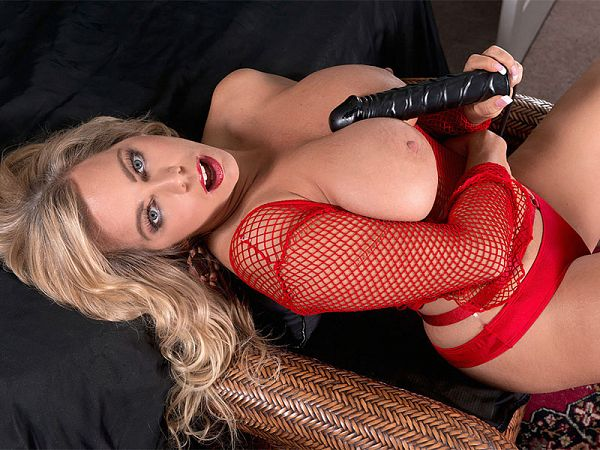 The Lady In Red With Big Tits & A Toy