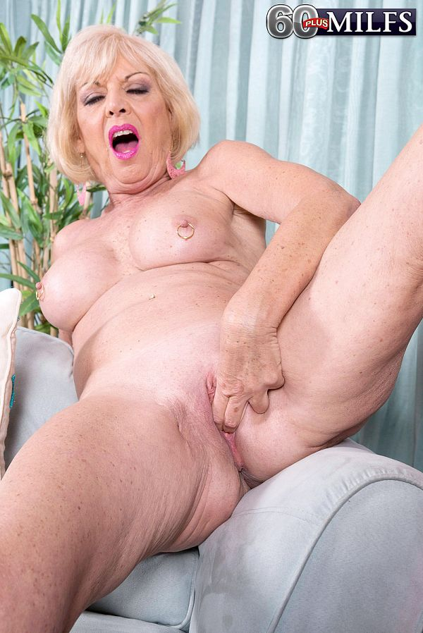 A granny with crotchless panties
